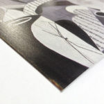 Particolare stampa su cartoncino argento rigato