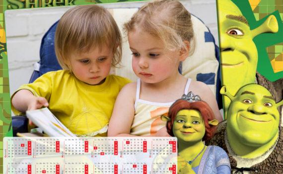 Calendario per i piccoli a pagina singola Shrek