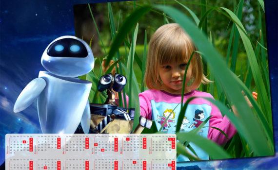Calendario per i piccoli a pagina singola Wally-e