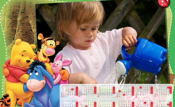 Calendario per i piccoli a pagina singola Winnie Pooh
